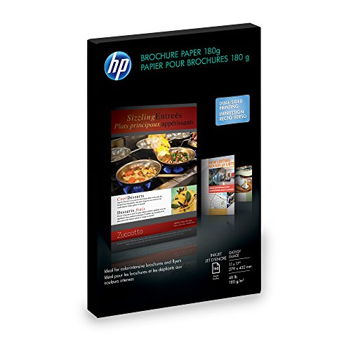 HP Brochure Paper for Inkjet Printer, Glossy, 11x17, 150 (Two Sided Glossy Paper)