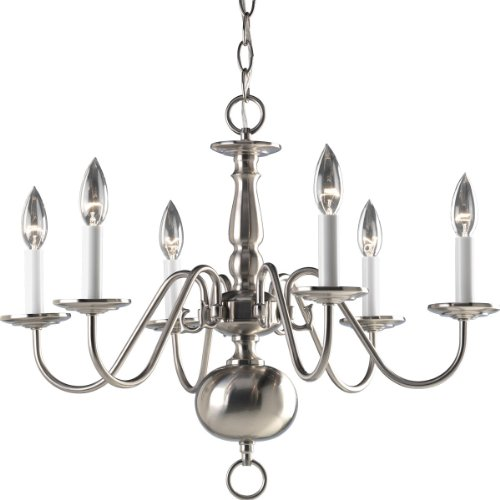 Progress Lighting P4356-09 6-Light Americana Chandelier with Delicate Arms and Decorative Center Column and Candelabra Lamps, Brushed (6 Arm Candle Chandelier)
