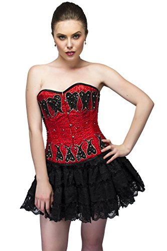 川体操選手コンテンポラリーRed Satin Black Sequins Goth Burlesque Waist Cincher Bustier Overbust Corset Top