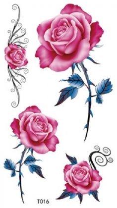 Larga duración temporal tatuaje rosa tatuajes temporales para las ...