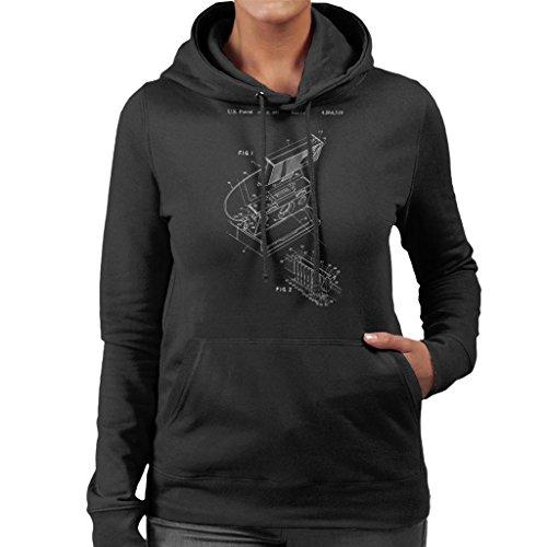 Hooded Polaroid Coto7 Blueprint Patent Strobar Women's Black Sweatshirt W6nnTHB4