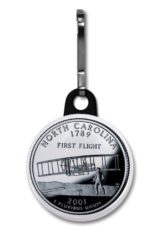 NORTH CAROLINA State Quarter Mint Image 1 inch Zipper Pull Charm