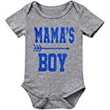 Ma&Baby Newborn Kid Boy Girl Bodysuits Mama's Boy Summer Jumpsuit Letter Clothes Cotton 2pcs Outfits For Boy 0-18Months (6-9 Months)