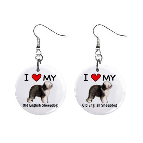 Old English Sheepdog Earrings - I Love My Old English Sheepdog Button Earrings