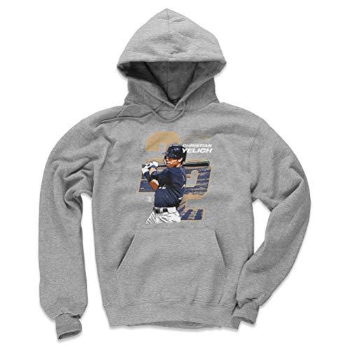 - 500 LEVEL Milwaukee Baseball Men's Hoodie - Medium Gray - Christian Yelich Offset D WHT