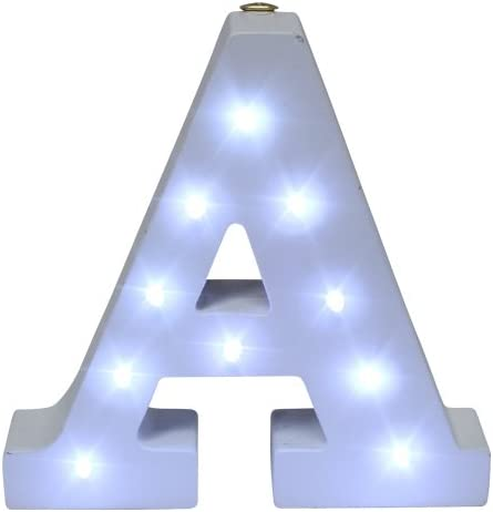 Royal Brands Decorative DIY LED Letter Light Sign - Light Up Wooden Alphabet Letter Battery Operated Party Wedding Marquee Décor - White (A)