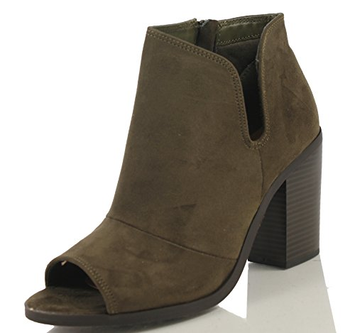 Soda Women's Open Toe Faux Suede V Cutout Stacked Heel Ankle Bootie