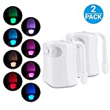 2-Pack iBetterLife Advanced LED Toilet Lights Motion Detection, 8-Color Changing Inside Tolit Glow Bowl Nightlight, Human Body Infrared Auto Activated Sensor Seat Lamp Fixtures (Only Activates in Dark) (Multicolor)