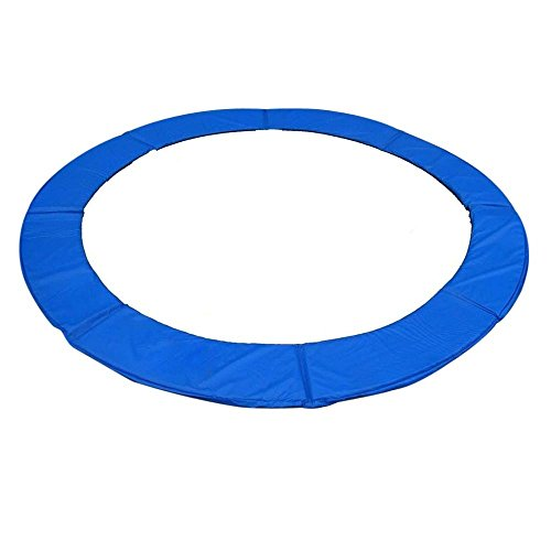 Steel Spring Retainers - Exacme 16 Feet Trampoline Replacement Safety Spring Cover Round Frame Pad Without Holes, Blue