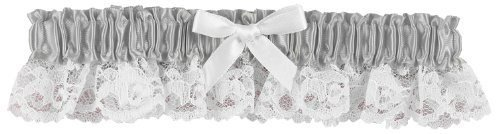 Hortense B. Hewitt Wedding Accessories Ribbon and Lace Garter, Platinum -