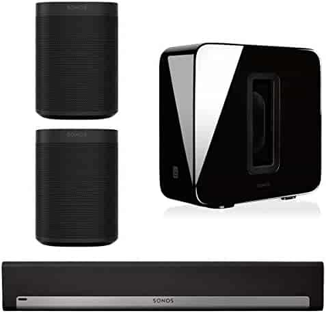 Sonos 5.1 Home Theater System with Sonos ONE (Pair), PLAYBAR, and SUB (Black)