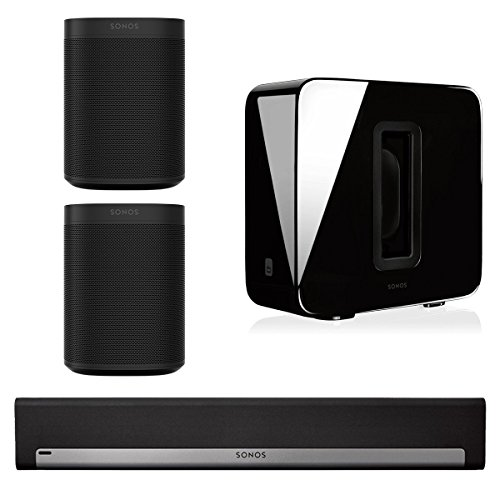Sonos 5.1 Home Theater System with Sonos ONE (Pair), PLAYBAR, and SUB (Black) by Sonos