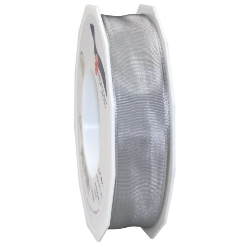 (Morex Ribbon French Wired Lyon Ribbon, 1-Inch by 27-Yard Spool, Sterling Silver)