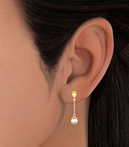 14K Or jaune 0,03CT TW White-diamond (IJ | SI) et blanc perle Pendants d'oreilles