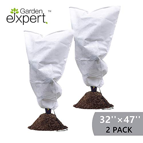 """Garden EXPERT Plant Cover Frost Protection Bag Shrubs & Trees Jacket, Prevent Damage, Bad Weather and Pests Thickening of Wind(2-Pack 32"""" × 47"""")"""