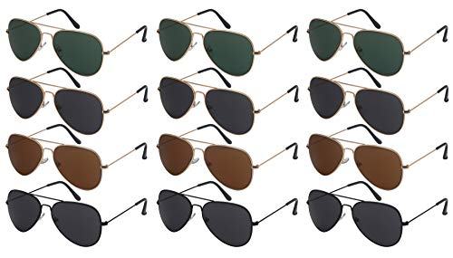 Edge I-Wear 12 Pack Wholesale Sunglass Top Gun Men Bulk Pilot Aviator Sunglasses Women N25095A-SD