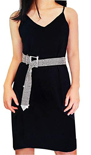 - Women Sexy Luxury Sparkle Rhinestone Waist Belt Party Club Crystal Waistband Waist Chain (Silver)