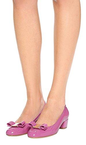 SexyPrey Women's Round Toe Bowknot Big Size Slip On Mid Block Heels Chic Court Shoes Pink 5cNNT