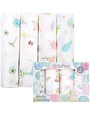 Softan Mantas de Muselina de Bambú Algodón,Muselinas Pack de 4,Mantitas para Bebes 120x120 cm