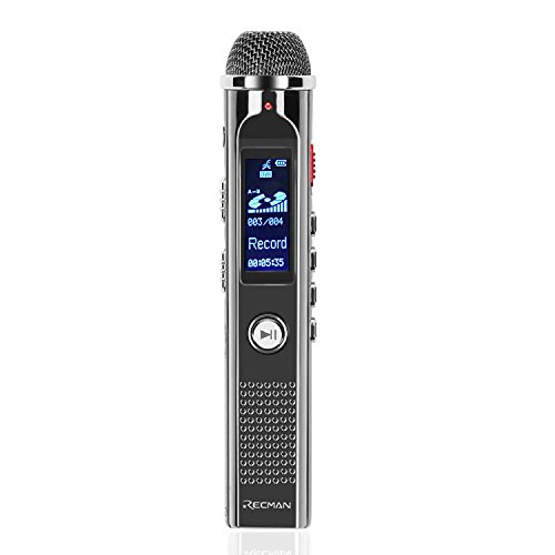 TNP Digital Voice Recorder with Playback, Rechargeable Voice Activated Dictaphone - Stereo Mic w/ Noise Reduction, Portable MP3 Player w/ FM Radio Recording (8GB) Includes Headphone & Mic Stand (Best Dictaphone App Android)