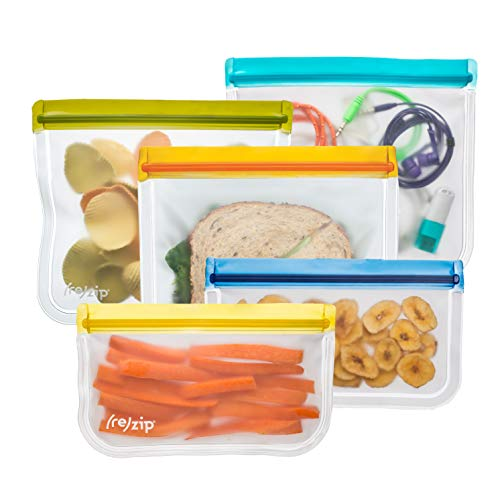 (rezip 5-Piece Lay-Flat Starter Reusable Storage Bag Kit (Multi-Color))