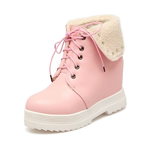 AN A&N Womens Boots Low-Top Lace-Up Adjustable-Strap High-Heel Waterproof Low-Top Dress Slouch Cushioning Urethane Boots DKU01795 Pink PbIFZbUC9z