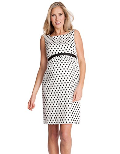 Black & White Polka Dot Woven Maternity - Print Dress Boatneck