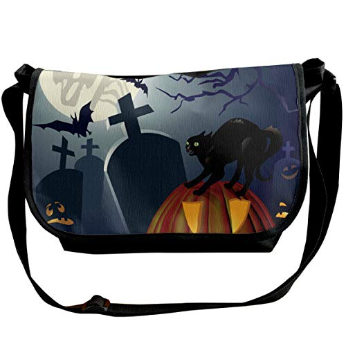 Taslilye Halloween Night Vector Image Cat Customized Wide Crossbody Shoulder Bag For Men And Women For Daily Work Or Travel