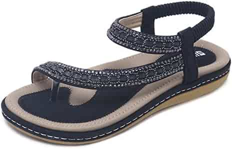 52bfd7bc9b9 Wollanlily Women Summer Beach Bohemia Flat Sandals Rhinestones Flower Ankle  Strap Flip-Flop Shoes
