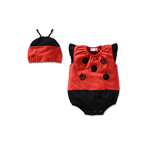 [Generic Baby Girls' Bodysuit With Hat Fruit Animal Print Ladybug 18-24 Months] (Fruit Hat Lady)