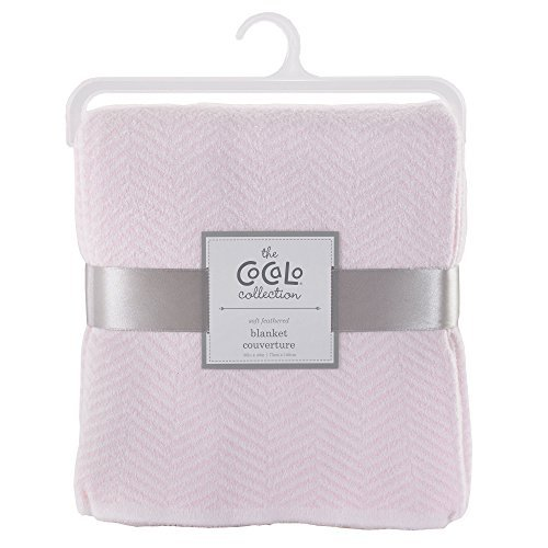 Voile Separates Herringbone Knitted Blanket Color: Petal Pink by - Cocalo Pink Baby Blanket