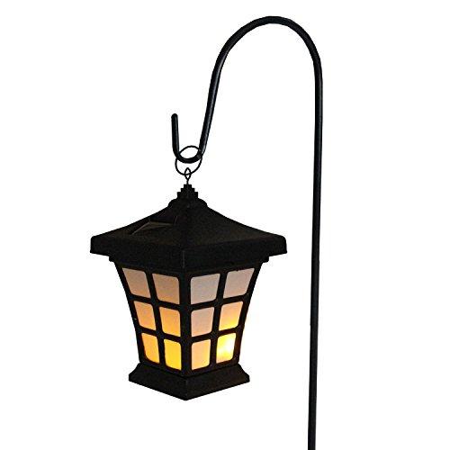 42' Black and White LED Solar Powered Lantern With Shepherd's Hook Garden...