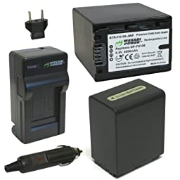 Wasabi Power Battery (2-Pack) and Charger for Sony NP-FH100 and Sony DCR-DVD203, DCR-DVD205, DCR-DVD408, DCR-DVD508, DCR-DVD560, DCR-DVD610, DCR-DVD650, DCR-DVD710, DCR-DVD810, DCR-DVD910, DCR-HC28, DCR-HC38, DCR-HC48, DCR-SR42, DCR-SR45, DCR-SR47, DCR-SR