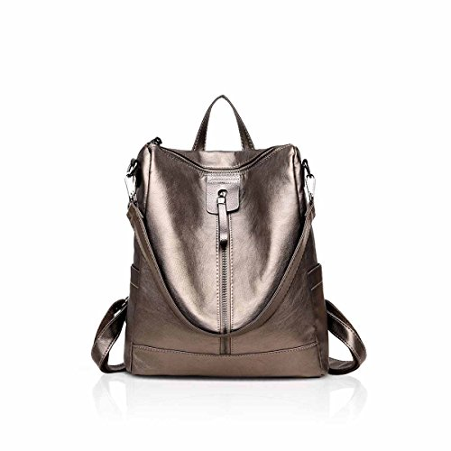 NICOLE&DORIS New Vintage Woman Backpack Shoulder Bag Convertable Casual Retro Soft Leather Golden (Charms Designer Purses)