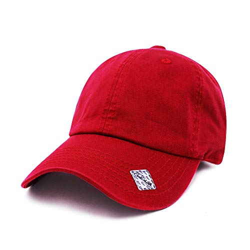 Blank Unstructured Cap - ChoKoLids Cotton Dad Hat Adjustable Blank Cap Low Profile Unstructured Polo Style (Red)