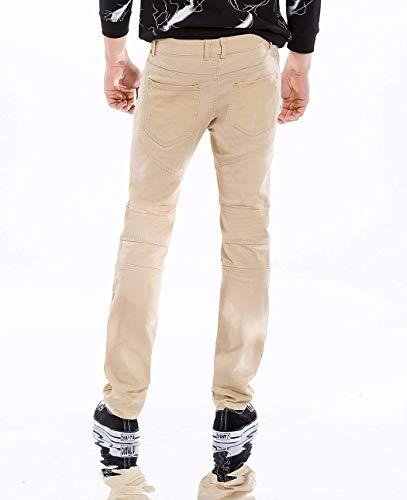 Strappati Uomo Semplice Da Jeans Pantaloni Slim Denim Distrutti Moda Fit Stile Vintage Casual Stretch Hellkhaki zZww15