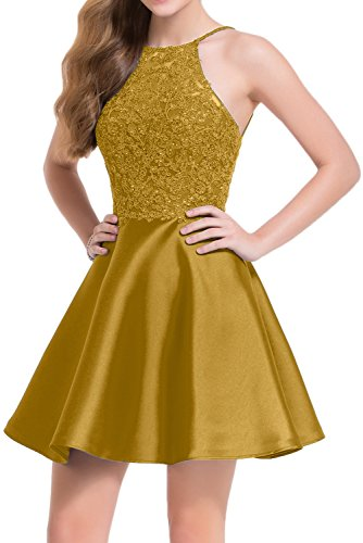 Missdressy - Vestido - trapecio - para mujer dorado