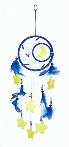 Traumfänger Mond und Sterne aus Muscheln blau gelb 50cm Federn Indianerschmuck