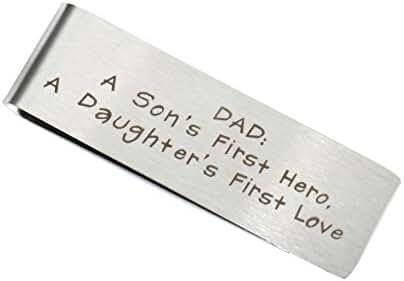 BESPMOSP Dad A Son First Hero A Daughter First Love Cash Money Clip Card Holder