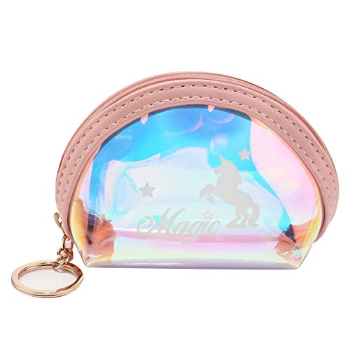 (Holographic Coin Purse Transparent Change Wallet Laser PVC Change Purse with Zipper Key Ring (Shell Pink))