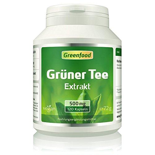 Grüner Tee, 500 mg, 120 Kapseln, vegan, Hilft beim Abnehmen, erhöht Fettverbrennung und Energieverbrauch, viele Vitalstoffe & Antioxidantien