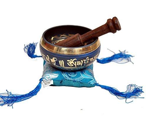 Tibetan Singing Bowl Set By Dharma Store - With Traditional Design Tibetan Buddhist Prayer Flag - Handmade in Nepal (Blue) by Dharma Store (Image #2)