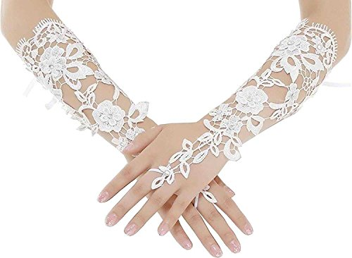 Banfvting White Lace Rhinestones Bridal Gloves Wedding Party Prom Under Elbow (White)