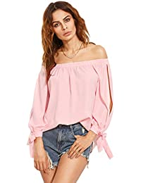 Women's Off Shoulder Slit Sleeve Tie Cuff Blouse Top