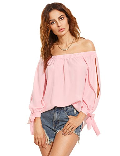 SheIn Women's Off Shoulder Slit Sleeve Tie Cuff Blouse Top Medium Pink