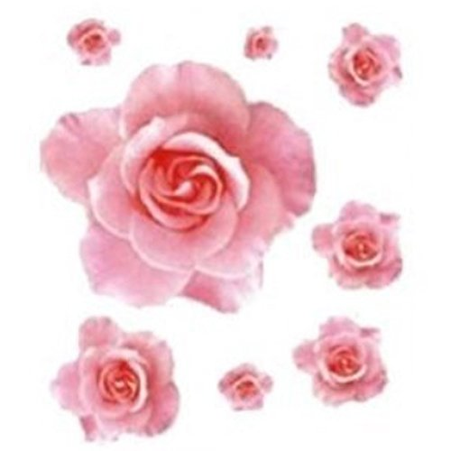 Sunward Fashion Wall Sticker 3D Pink Rose Flower Removable Home Decor Decal Vinyl