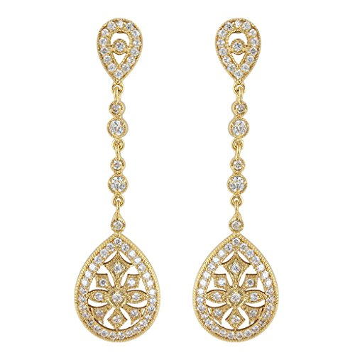 EVER FAITH Art Deco Classical Gatsby Inspired Cubic Zirconia Chandelier Pierced Earrings Gold Tone