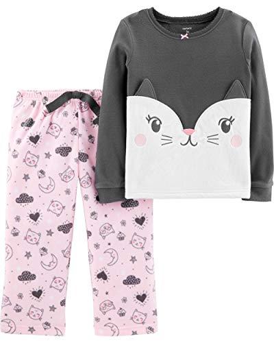 Carter's Girl's 2-Piece Fleece Pajamas Top and Pants Set (Grey/Pink, 3T)