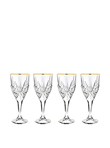 Godinger Set Of 4 Dublin Goblet Gold Band, Clear, 3x3x8.10