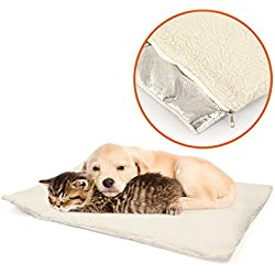 Self Warming Pet Bed Dog Pad Comfort Sleeping Mat Heat Warmth (M, White) - PetPaw